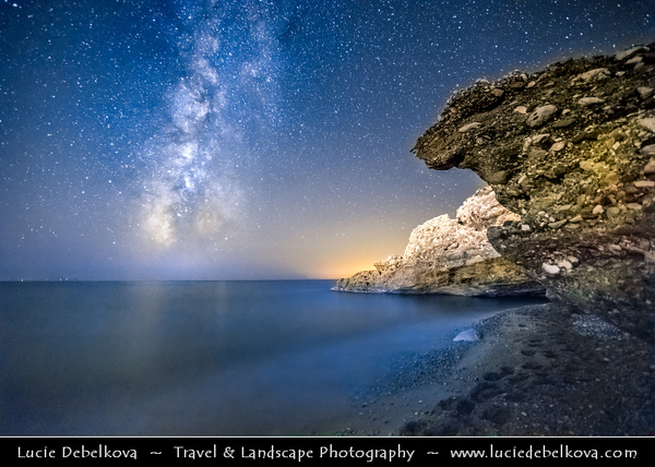 Europe - Albania - Vlorë County - Albanian Riviera - Dhërmi - Maritime village on slope of Ceraunian Mountains & coast of Adriatic & Ionian Sea, northernmost arm of Mediterranean Sea - Night sky with stars and Milky Way