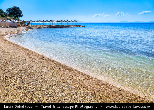 Europe - Albania - Vlorë County - Albanian Riviera - Ksamil - Ksamili - Maritime village & one of the most frequented coastal resorts within Butrint National Park on coast of Adriatic & Ionian Sea, northernmost arm of Mediterranean Sea - Pema e Thate Crystal clear beach