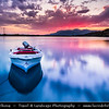 Europe - Albania - Vlorë County - Butrint - Buthrotum - Butrint National Park - Sunset over laguna with fishing boats
