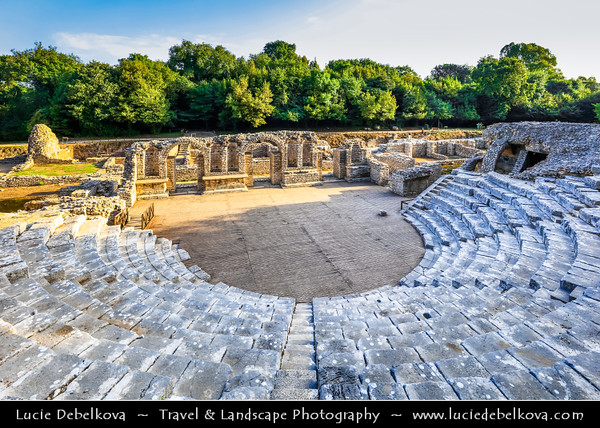 Europe - Albania - Vlorë County - Butrint - Buthrotum - UNESCO World Heritage Site - Ancient Greek Ruined City & archeological site within Butrint National Park - Remains of 4th century BC Theatre