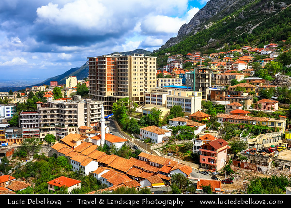 Europe - Albania - Durrës County - Krujë - Kruja - Historical city & one of cultural and historic centers -  Town Panorama with White minaret of Kruja's Mosque - Xhamia Kruje