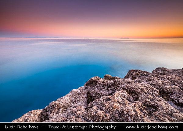 Europe - Albania - Vlorë County - Albanian Riviera - Dhërmi Beach on coast of Adriatic & Ionian Sea, northernmost arm of Mediterranean Sea - Sunset