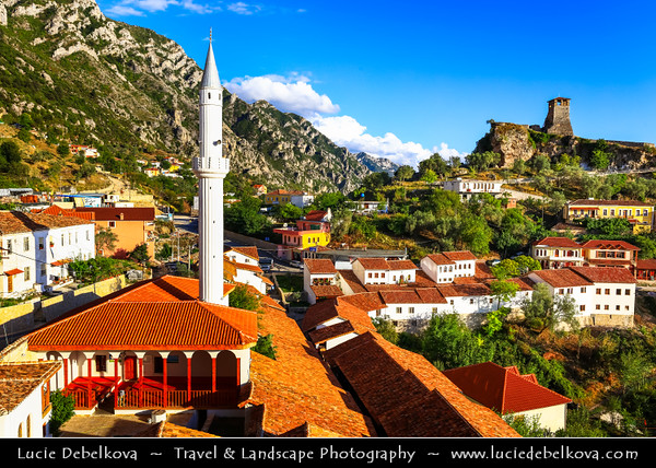 Europe - Albania - Durrës County - Krujë - Kruja - Historical city & one of cultural and historic centers -  Kruja castle - Kalaja e Krujës &  White minaret of Kruja's Mosque - Xhamia Kruje