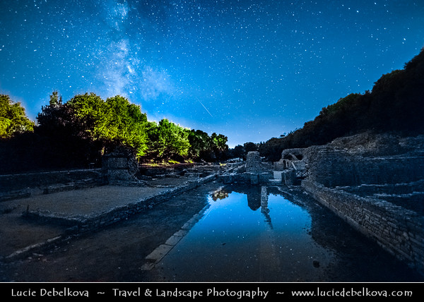 Europe - Albania - Vlorë County - Butrint - Buthrotum - UNESCO World Heritage Site - Ancient Greek Ruined City & archeological site within Butrint National Park - Night sky with stars and Milky Way with Meteorite - Meteor - Falling star - Shooting star