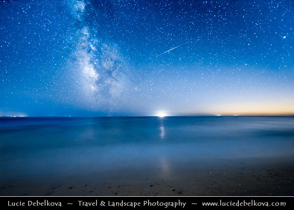 Europe - Albania - Vlorë County - Albanian Riviera - Dhërmi - Maritime village on slope of Ceraunian Mountains & coast of Adriatic & Ionian Sea, northernmost arm of Mediterranean Sea - Night sky with stars and Milky Way with Meteorite - Meteor - Falling star - Shooting star