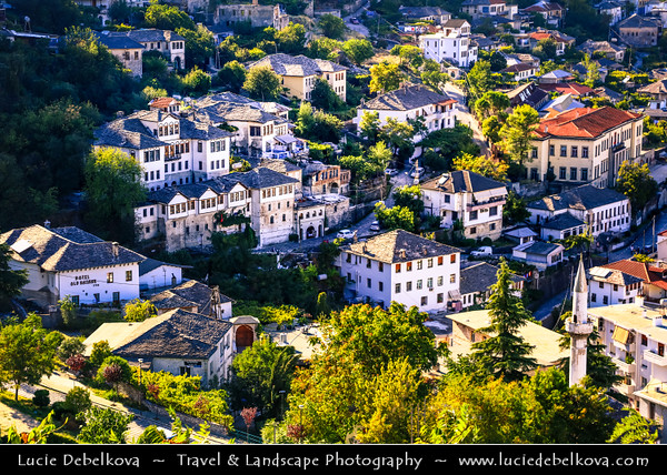 Europe - Albania - Gjirokastër - UNESCO World Heritage Site - Historical town overlooked by Gjirokastër Fortress - Rare example of a well-preserved Ottoman town