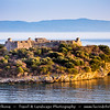 Europe - Albania - Albanian Riviera - Porto Palermo Castle - Kalaja e Porto Palermos - Well preserved castle with triangular plan with round towers in bay of Porto Palermo