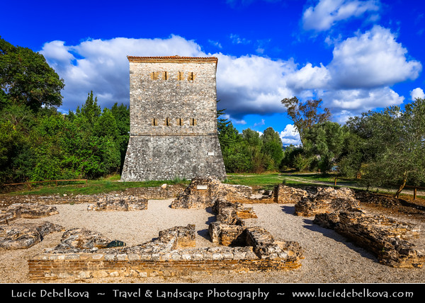 Europe - Albania - Vlorë County - Butrint - Buthrotum - UNESCO World Heritage Site - Ancient Greek Ruined City & archeological site within Butrint National Park - Remains of Venitian tower