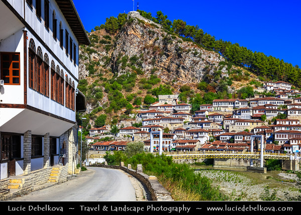 Europe - Albania - Berat - Berati - UNESCO World Heritage Site - One of world's oldest continuously inhabited cities - Medieval historical old town & rare example of architectural character typical of Ottoman period