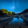 Europe - Albania - Vlorë County - Butrint - Buthrotum - UNESCO World Heritage Site - Ancient Greek Ruined City & archeological site within Butrint National Park - Night sky with stars and Milky Way