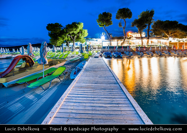 Europe - Albania - Vlorë County - Albanian Riviera - Ksamil - Ksamili - Maritime village & one of the most frequented coastal resorts within Butrint National Park on coast of Adriatic & Ionian Sea, northernmost arm of Mediterranean Sea