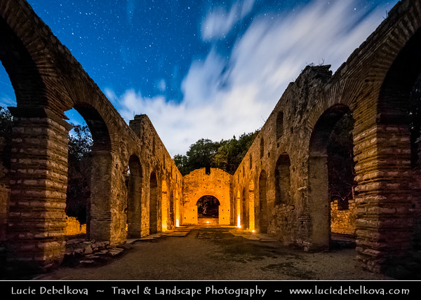 Europe - Albania - Vlorë County - Butrint - Buthrotum - UNESCO World Heritage Site - Ancient Greek Ruined City & archeological site within Butrint National Park - Remains of Great Basilica