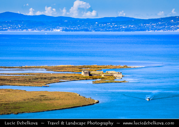 Europe - Albania - Vlorë County - Butrint - Buthrotum - Butrint National Park - Ali Pasha Castle - Kalaja e Ali Pashës Butrint - Ottoman Triangular Fortress in salt lagoon of Ionian Sea