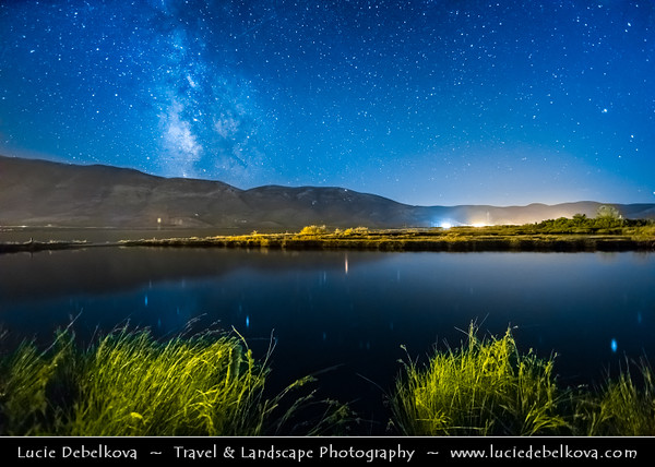 Europe - Albania - Vlorë County - Albanian Riviera - Orikum - Maritime village on coast of Adriatic & Ionian Sea, northernmost arm of Mediterranean Sea - Night sky with stars and Milky Way