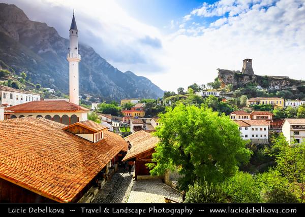 Europe - Albania - Durrës County - Krujë - Kruja - Historical city & one of cultural and historic centers -  Kruja castle - Kalaja e Krujës &  White minaret of Kruja's Mosque - Xhamia Kruje