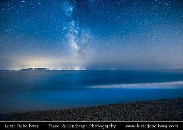 Europe - Albania - Vlorë County - Albanian Riviera - Borsh - Maritime village on coast of Adriatic & Ionian Sea, northernmost arm of Mediterranean Sea - Night sky with stars and Milky Way