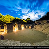 Europe - Albania - Vlorë County - Butrint - Buthrotum - UNESCO World Heritage Site - Ancient Greek Ruined City & archeological site within Butrint National Park - Remains of 4th century BC Theatre - Night sky with stars
