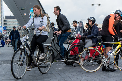 Bike Traffic Departing From Ferry Beside  Centraal Station