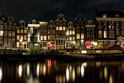Canal Houses At Night