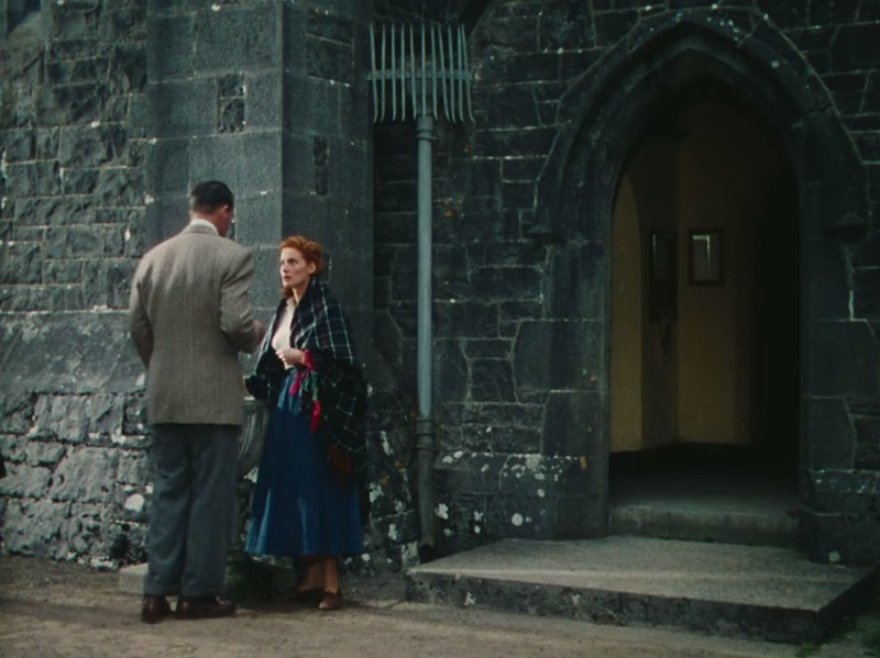 Sean meets Mary Kate after Mass at St. Mary's Chapel, in The Quiet Man