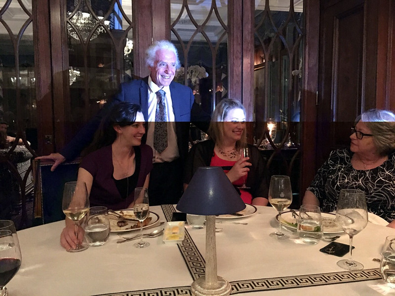 Patrick and the two Lauras, and Christy at dinner at Ashford Castle.