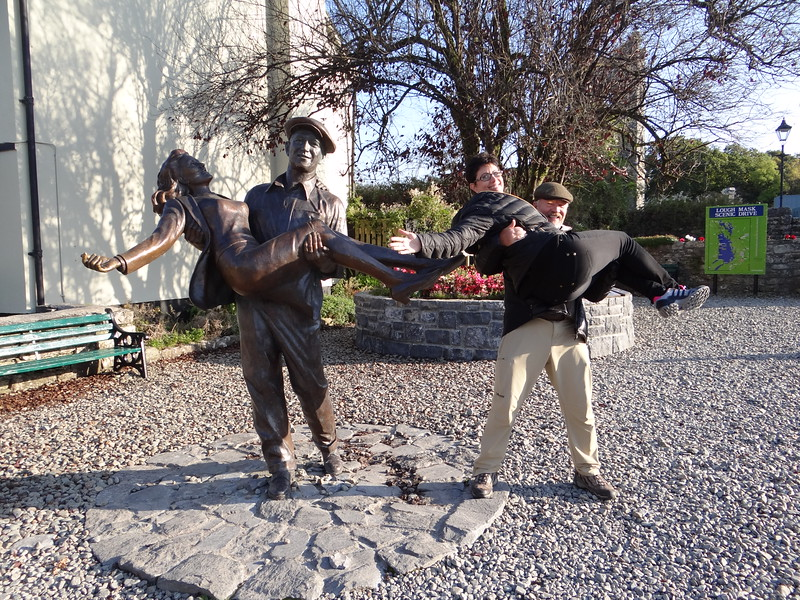 Michael and Robin, at the Quiet Man statue in Cong.