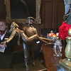 miniature Quiet Man sculpture at the castle's reception desk