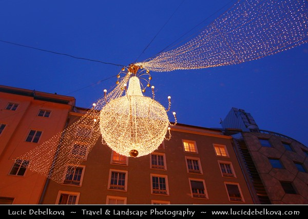 Europe - Austria - Österreich - Vienna - Wien - Der Graben - One of the most famous streets in Vienna - Exclusive & pulsating shopping street in heart of the inner city - Rich Christmas decorations - giant pear-like lamps during Advent