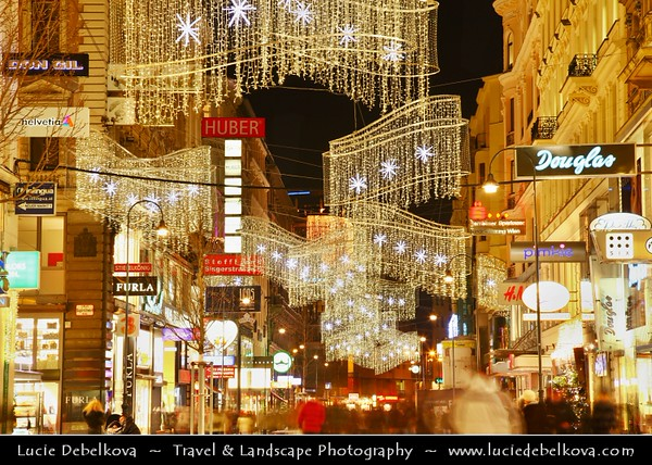 Europe - Austria - Österreich - Vienna - Wien - Shopping street in heart of the inner historical city - Rich Christmas decorations during Advent