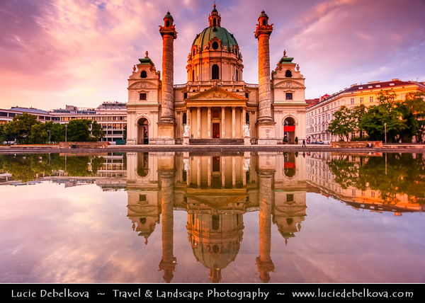 Europe - Austria - Österreich - Vienna - Wien - Karlsplatz - Karlskirche - St. Charles's Church - One of the most outstanding baroque church structures which boasts dome in the form of an elongated ellipsoid