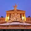 Europe - Austria - Österreich - Vienna - Wien - Vienna Parliament building with Pallas Athene statue at the front - One of the most important splendor building in the Greek-Roman style at the Wiener Ringstraße - Captured at Dusk - Twilight - Blue Hour - Night under fresh cover of snow
