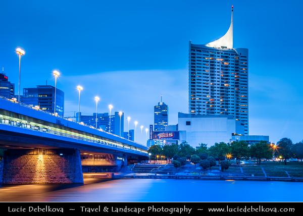 Europe - Austria - Österreich - Vienna - Wien - Modern Cityscape along Danube - Dunaj - Duna Riverbank - Dusk - Twilight - Blue Hour