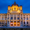 Europe - Austria - Österreich - Vienna - Wien - Museumsquartier - Maria Theresien Platz - Maria Theresia Park square - Museum complex where the royal art collections where displayed together - Outside area with beautiful fountains (Tritonen & Najadenbrunnen) - Dusk - Twilight - Blue Hour