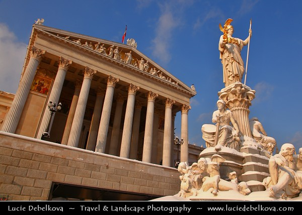 Europe - Austria - Österreich - Vienna - Wien - Vienna Parliament building with Pallas Athene statue at the front - One of the most important splendor building in the Greek-Roman style at the Wiener Ringstraße - Captured under fresh cover of snow
