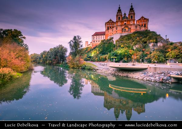 Europe - Austria - Österreich - Lower Austria - Melk Abbey - Benedictine Baroque abbey on rocky outcrop overlooking the Danube river, adjoining Wachau valley - UNESCO's World Cultural Heritage