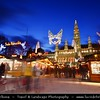 Europe - Austria - Österreich - Vienna - Wien -  Rathaus Vienna - Vienna's City Hall - Gothic style seat of mayor & city council of Vienna - Major tourist attraction together with Rathausplatz and Rathauspark captured during Christmas Markets Festive time