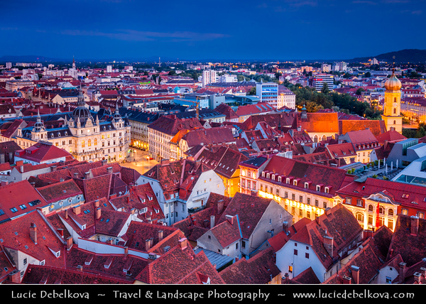 Europe - Austria - Österreich - Styria - Steiermark - Graz - Gradec - Grác - One of the best-preserved city centres in Central Europe on banks of Mur River in the southeast of Austria - Old Town Historic Centre & Schloss Eggenberg - UNESCO World Cultural Heritage Site - Dusk - Twilight - Blue Hour