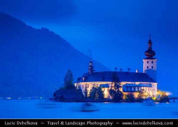 Europe - Austria - Österreich - Upper Austria - Salzkammergut - Gmunden an der Traun - Schloss Ort at Gmunden - Austrian castle situated in Traunsee lake - Dusk - Twilight - Night - Blue Hour