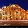 Europe - Austria - Österreich - Vienna - Wien - Vienna State Opera - Wiener Staatsoper - Opera house with a history dating back to the mid-19th century - Dusk - Blue Hour - Twilight - Night