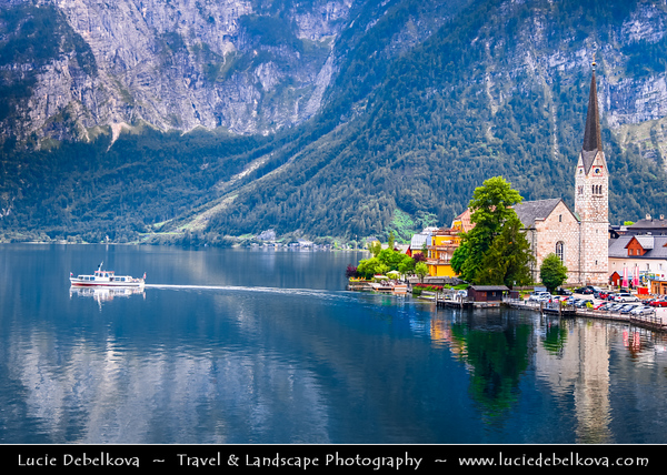 "Europe - Austria - Österreich - Upper Austria - Salzkammergut - Hallstatt - Austria's most picturesque village perched on the rim of south-western shore of the Hallstätter See - Lake - Sometimes called ""The pearl of Austria"""