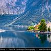 "Europe - Austria - Österreich - Upper Austria - Salzkammergut - Hallstatt - Austria's most picturesque village perched on the rim of south-western shore of the Hallstätter See - Lake - Sometimes called ""The pearl of Austria"""