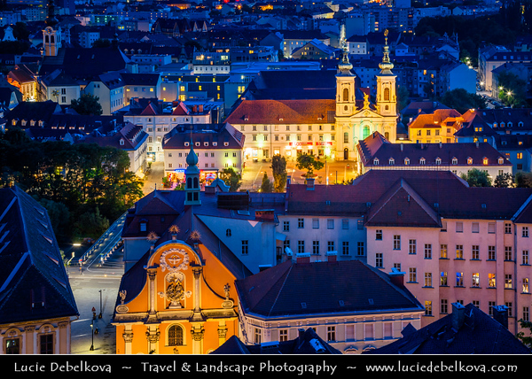 Europe - Austria - Österreich - Styria - Steiermark - Graz - Gradec - Grác - One of the best-preserved city centres in Central Europe on banks of Mur River in the southeast of Austria - Old Town Historic Centre & Schloss Eggenberg - UNESCO World Cultural Heritage Site