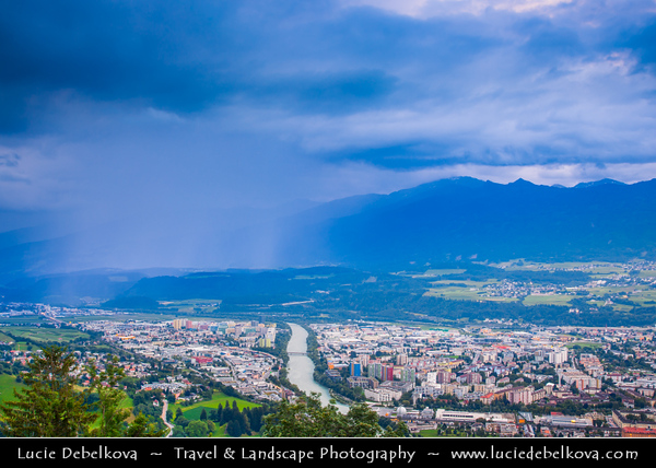 Europe - Austria - Österreich - Tyrol - Tirol - Innsbruck - Tyrol's capital city located in the Inn Valley at the junction with the Wipptal (Sill River) - Spectacular city view of from Hungerburgbahn - Modern funicular railway station designed by Zaha Hadid