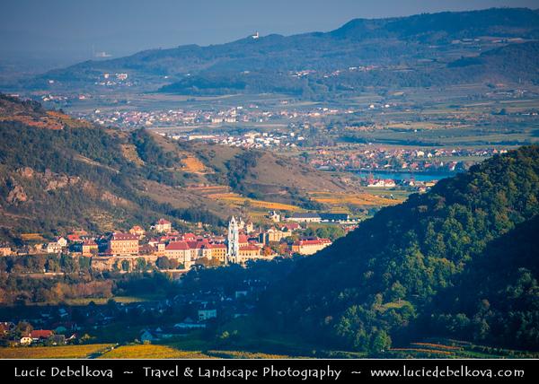 Europe - Austria - Österreich - Lower Austria - Wachau Valley - UNESCO World Heritage Area - One of Austria's most established and notable wine regions - Dürnstein - Durnstein - Market town on shore of Danube River - Pearl of Wachau - One of most-visited tourist destinations in Wachau region