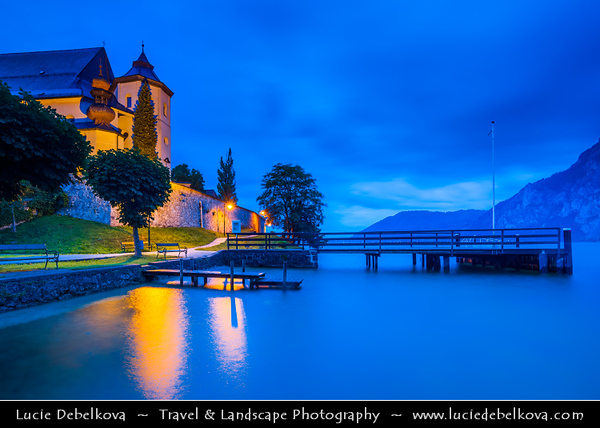 Europe - Austria - Österreich - Upper Austria - Salzkammergut - Traunkirchen - Traunsee Lake in Austrian Alps captured at Blue Hour - Dusk - Blue Hour