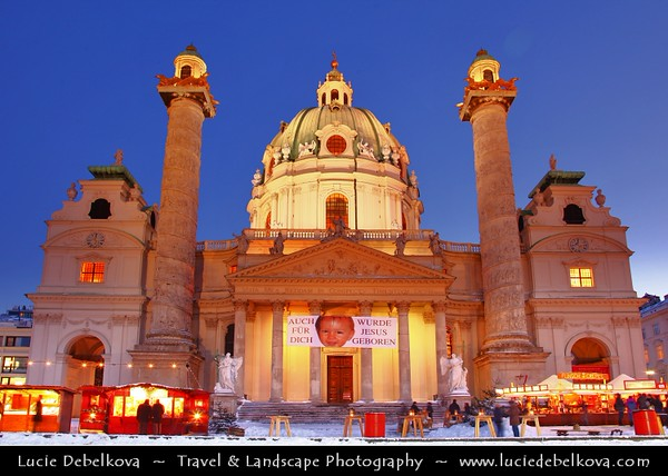Europe - Austria - Österreich - Vienna - Wien - Karlsplatz - Karlskirche - St. Charles's Church - One of the most outstanding baroque church structures which boasts dome in the form of an elongated ellipsoid - Captured during magical Christmas time at open air market