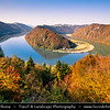 Europe - Austria - Österreich - Upper Austria - Danube Valley - Danube Loop - Donauschlinge - Schlögener Schlinge - Complete 180-degree river bend creating meander - Natural Wonder of Austria & Geographical rarity on river's 1,700-mile journey from Black Forest to Black Sea