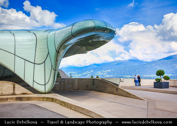 Europe - Austria - Österreich - Tyrol - Tirol - Innsbruck - Tyrol's capital city located in the Inn Valley at the junction with the Wipptal (Sill River) - Hungerburgbahn - Modern funicular railway station designed by Zaha Hadid