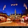 Europe - Austria - Österreich - Vienna - Wien -  Rathaus Vienna - Vienna's City Hall - Gothic style seat of mayor & city council of Vienna - Major tourist attraction together with Rathausplatz and Rathauspark captured during Christmas Markets Festive time