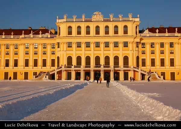 Europe - Austria - Österreich - Vienna - Wien - Schonbrunn Palace - Schloss Schönbrunn - Former imperial Rococo summer residence of Habsburg monarchs - One of the major tourist attractions in Vienna - Captured under heavy snow cover